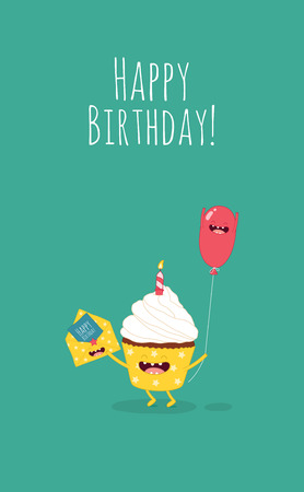 wishing card: Happy Birthday card with number 10 candle.vector. Balloons, cacke, animals Illustration