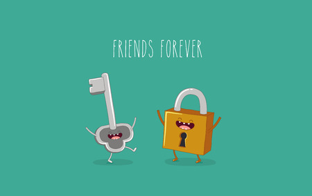 Funny key and lock. Friends forever. Vector illustration. Comic character Ilustração