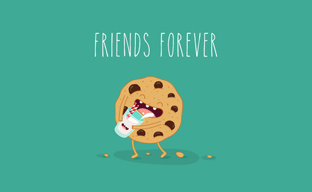 personage: Vector cartoons of comic characters bottle of milk and cookies. Friends forever. Breakfast