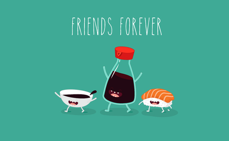 Grappige sushireeks. Flesje sake, sushi, rijst, sojasaus. Vector illustratie.