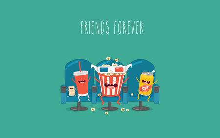 personage: Vector cartoon. fast food. Friends forever. Popcorn, movie ticket, cola, movies, cinema