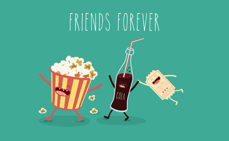 Friends forever, popcorn, movie ticket, cola, movies, cinema.