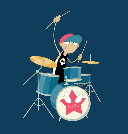 Young drummer of rock band playing his kit. Creative people Illustration