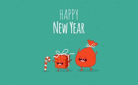 Happy New Year card. Santa s greetings. Vector illustration