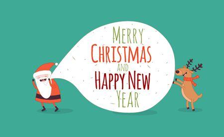 Cristmas: Happy New Year card. Santa s greetings. Vector illustration