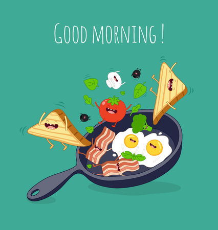 Funny breakfast set. Comic characters. Vector illustrations. Çizim