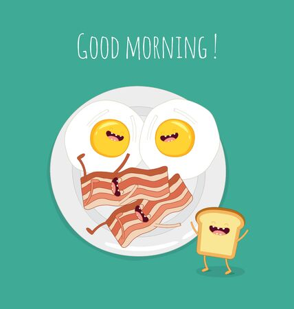 Funny breakfast set. Comic characters. Vector illustrations. Illustration