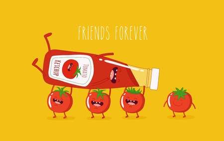 Funny tomato ketchup and tomato. Friend forever. Vector illustration.