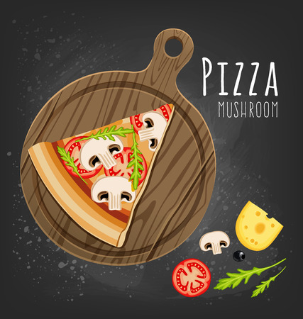 Set of italian Pizza on wooden boards. 9 items. Different sorts. Vector illustration
