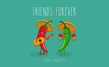 spicy mascot: Green Chili Pepper Cartoon Character With Mexican Hat Playing A Guitar