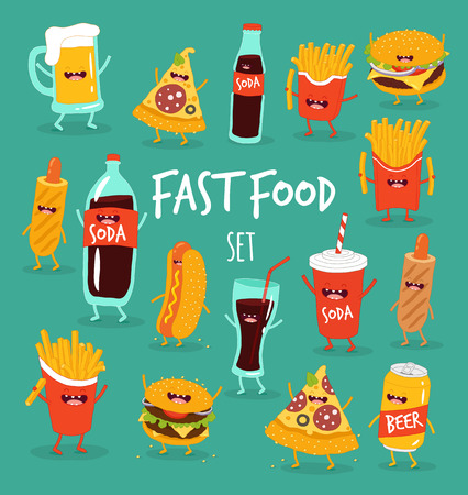 Animated fast food rejoices and laughs set Illustration