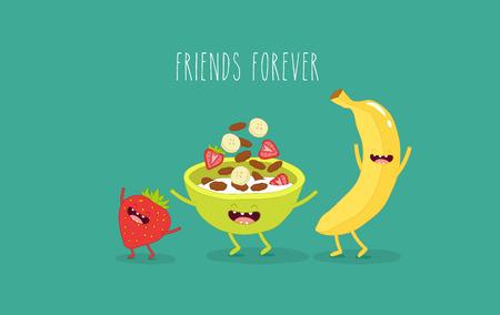 Banane animée, flocons de maïs et fraises heureux et rire. Graphiques vectoriels.