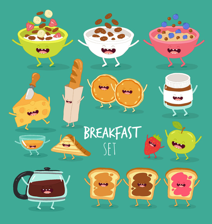 Breakfast cereal dish coffee toast fruit cheese