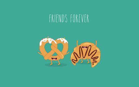 Croissant and pretzel friends Vettoriali