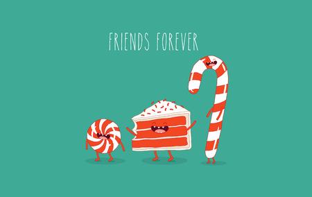 Amigos dulces y trozos de pastel