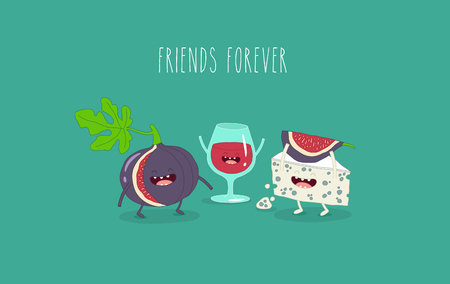 Wine cheese and fig friends. Vector illustration. Çizim