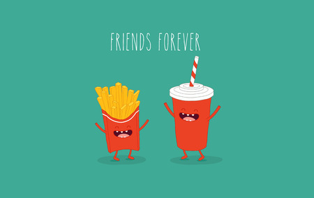 Cola and French fries friends. Vector illustration. Çizim