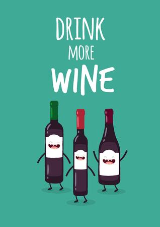 Bottles of wine Vektoros illusztráció