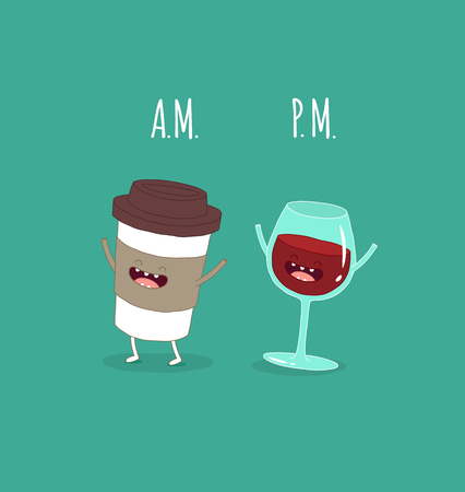 Coffee in the morning, evening wine. Vector illustration