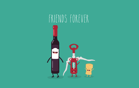 Wine and corkscrew friends