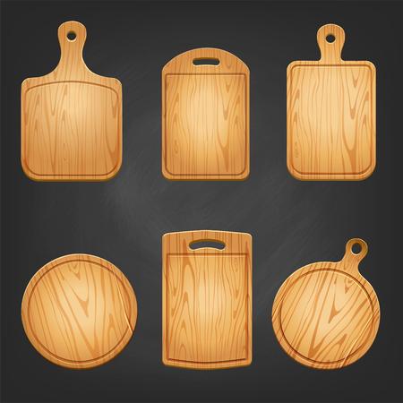 Wooden textured chopping board set. Vector illustration Illustration