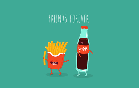 French fries and Cola friends. Vector illustration.