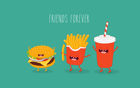 Cola French fries and hamburger friends. Vector illustration.