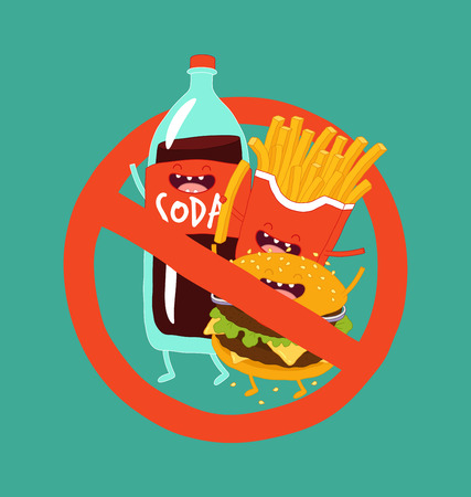 Fast food is prohibited sticker. Vector illustration