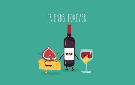 Cheese, fig and wine friends. Vector illustration Çizim