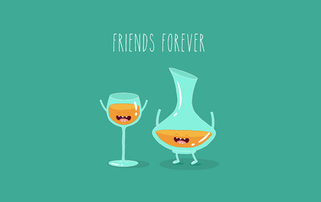A glass of wine and wine glass friends. Vector illustration.