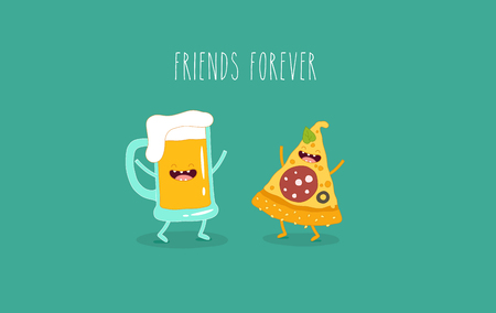 Pizza and beer are friends forever. Vector illustration. Çizim