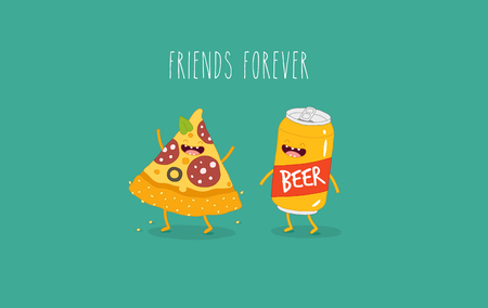 Pizza and beer are friends forever. Vector illustration. Illustration