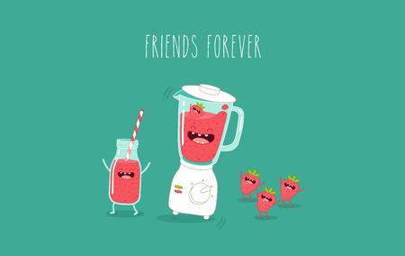 Smoothie blender and friends forever. Vector illustration.