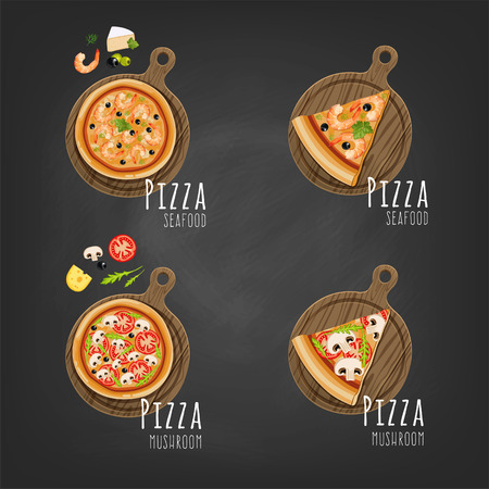 Whole pizza with ingredients and slice. Vector illustration.