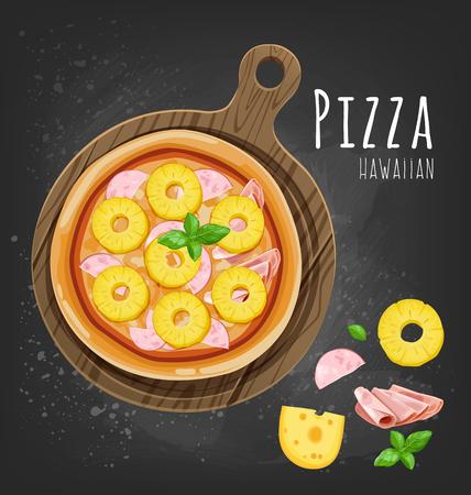 Fresh Hawaiian pizza and ingredients. Vector illustration Çizim