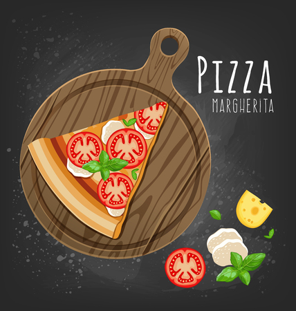 Slice of Margherita pizza and ingredients. Vector illustration.