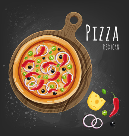 Fresh Mexican pizza and ingredients. Vector illustration Çizim
