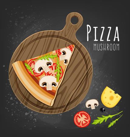 Mushroom pizza slice