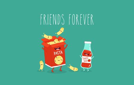Maccheroni e ketchup amici per sempre. Illustrazione vettoriale.