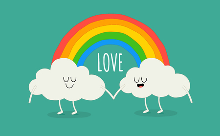 Rainbow among the cute animated clouds. Vector illustration. You can use for cards, fridge magnets, stickers, posters or restaurant menu.