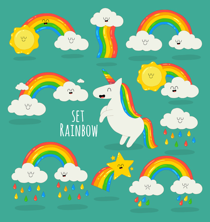 These are magic cute unicorns, stars, clouds and rainbows set. Vector illustration. You can use for cards, fridge magnets, stickers, posters or restaurant menu. Çizim