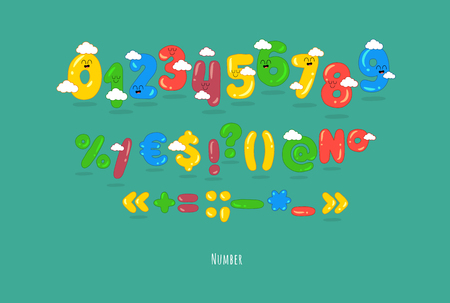These are funny numbers, punctuations. You can use for cartoon logos and short titles, children books and greeting cards. Created for the celebration and fun.