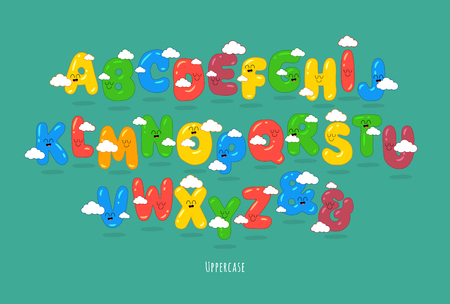 Funny Uppercase font. You can use for cartoon logos and short titles, children books and greeting cards. Created for the celebration and fun. Çizim