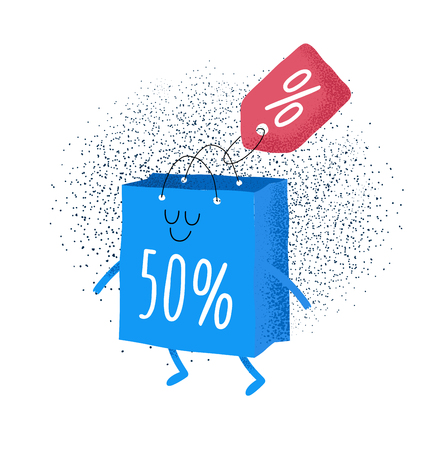 Animated bags offer discounts Bags are very happy that the season of discounts has begun Vector graphics Çizim