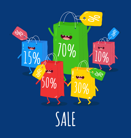 Animated bags offer discounts Bags are very happy that the season of discounts has begun Vector graphics