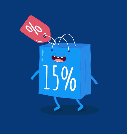 Animated bags offer discounts Bags are very happy that the season of discounts has begun Vector graphics Illustration