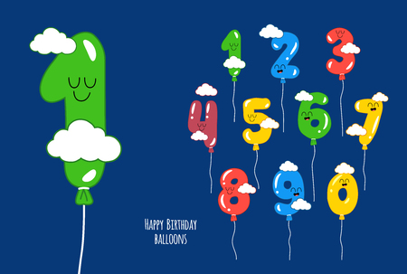 Happy birthday numbers will make your congratulations unforgettable. Vector graphics Stok Fotoğraf - 111889322