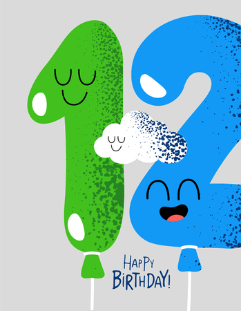 The number for birthday greeting card. Vector graphics.