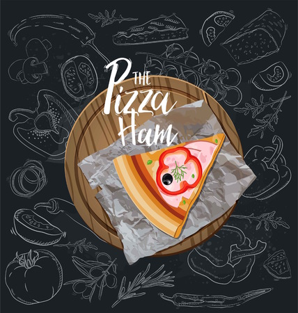 The Pizza Ham slice with background. Vector graphics. Vettoriali