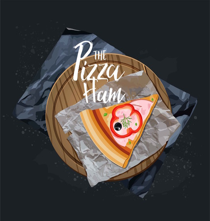 The Pizza Ham slice without background. Vector graphics.